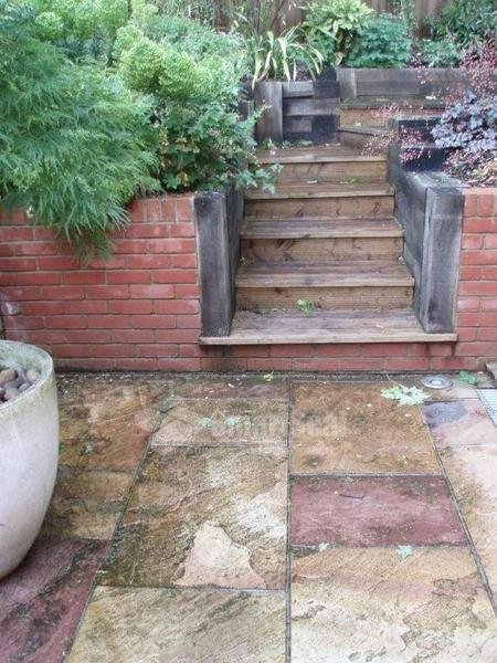 Slabs and steps needing cleaning